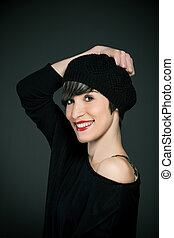 Smiling girl with french style outfit and copy space - photo...
