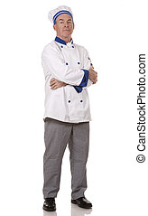 mature chef wearing workwear on white isolated background