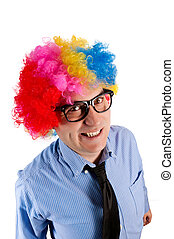 Business man - Funny businessman with clown wig