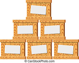 Several wooden crates. Vector illustration