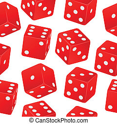 dice seamless pattern - illustration of red dice seamless...