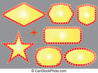 las vegas banner - illustration set of yellow banner for...