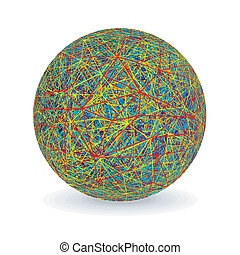 Isolated Multicolored Yarn Ball Vector Image - Multicolored...