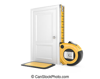 Tape measure and closed door home. 3d image isolated on a...