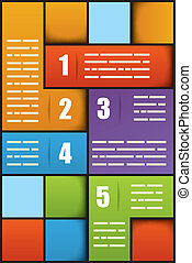 Presentation template - Five options square numbered...