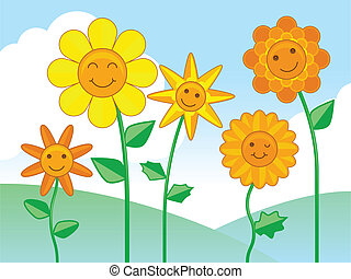 Happy flowers - Group of smiling happy cartoon flower...