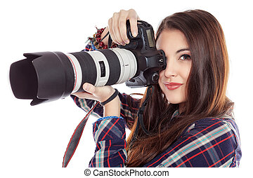 be in focus - Pretty young woman taking pictures on the...