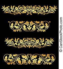 Retro gold floral elements and embellishments set for design...