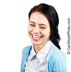 Woman laughing - Young woman laughing outloud isolated on...