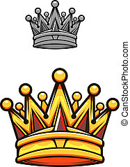 Vintage royal crown in cartoon style for heraldry design