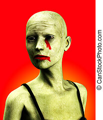 A Zombie Women - A close up of a bald zombie women