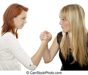 young beautiful red and blond haired girls battle each other...