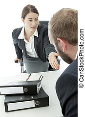 beard business man brunette woman at desk ask to sit down -...