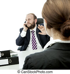 beard business man brunette woman at desk sign be quiet -...