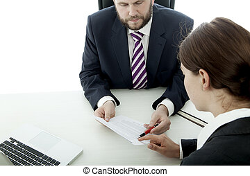 beard business man brunette woman at desk sign contract -...