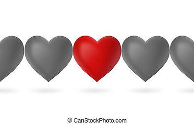 serca, komplet, czerwony