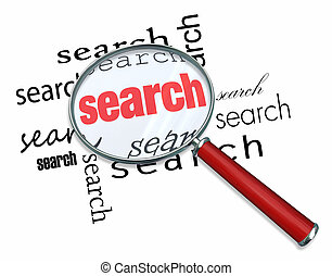 Search - Magnifying Glass on Words - A magnifying glass...