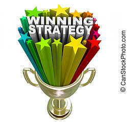 Winning Strategy Gold Trophy Words Winner Plan - The words...