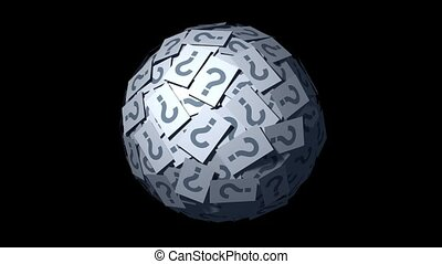 Question Mark Ball. - Huge ball made of papers with question...