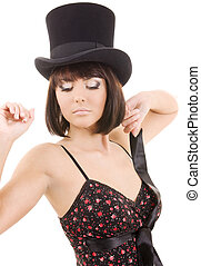top hat - picture of elegant lady in top hat over white