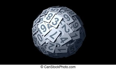 Huge ball made of numbers. - Huge ball made of papers with...