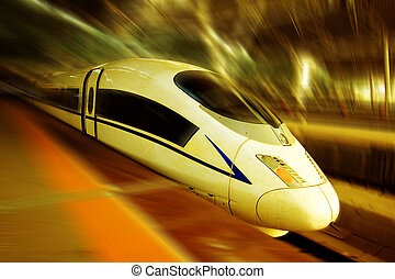 High speed train - the modern high speed train with motion...