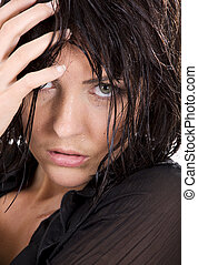 black-eyed - closeup picture of wet brunette girl face
