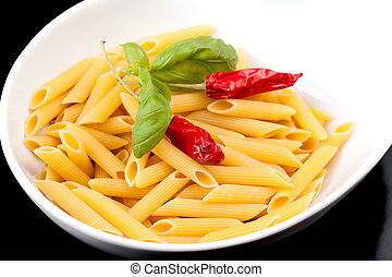 Italian Pasta - Penne - Bowl with pasta (penne rigate) with...