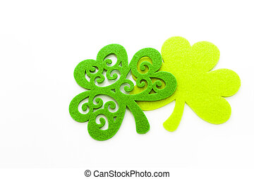 St Patricks Day doilies on white background