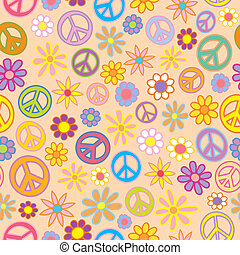 Seamless Flowers and Peace Signs - A seamless pattern of...