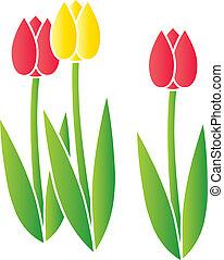 stilizált, tulipánok