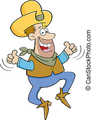 Cartoon cowboy jumping with two thu