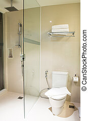 white bathroom with toilet