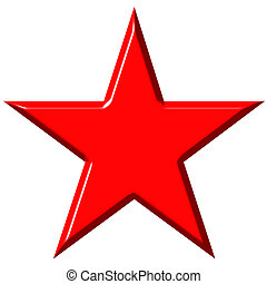 3D Cummunist Red Star - 3d communist red star isolated in...