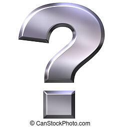 3D Silver Question Mark - 3d silver question mark isolated...