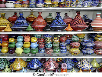 Products for Arab tourists on a stand of the souk