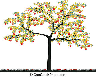 Apple tree - Editable vector illustration of a colorful...