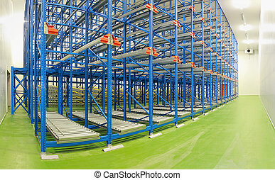 Shelving system warehouse - Empty shelving system in new...