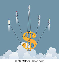 Gold Dollar Rescue - Vector illustration of a big dollar...