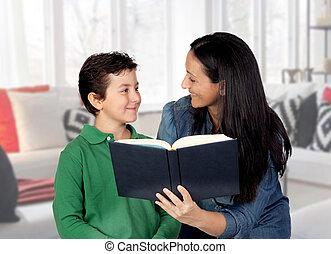 ella, leer, madre, niño, enseñanza