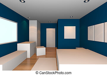 blue bedroom - Mock-up for minimalist bedroom with blue wall...