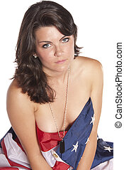 Young woman implied nude American Flag - young woman implied...