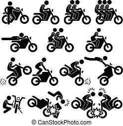 motocyclette, acrobatie, casse-cou, icône