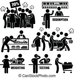Crazy Rushing Shopping Pictogram - A set of pictograms...