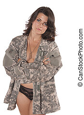 young woman implied nude military uniform - Sexy young woman...