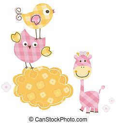 lindo, Aves, y, jirafa