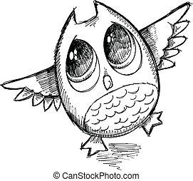 Cute Sketch Doodle Owl Vector