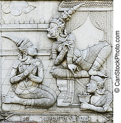 masterpiece of traditional Thai style stucco