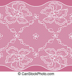 Lace fabric seamless border with abstact flowers.