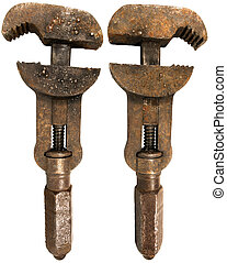 Old Rusty Wrench 2 sides - Old Rusty Wrench isolated on...